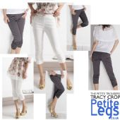 Tracy Straight Leg Crop Trousers | UK Size 2 - 6 | Petite Leg Inseam 18 - 20 Inches | Available in Charcoal Grey or White